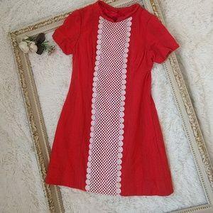 Vintage Orange Lace Wool Mini Dress 1960s